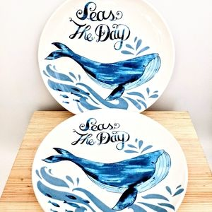 Bright Colorful 2 Seas the Day Whale Plates Pier